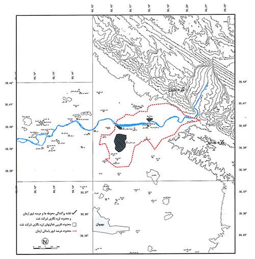 موقعیت جغرافیایی محوطه تاریخی ارگان و محدوده عرصۀ آن