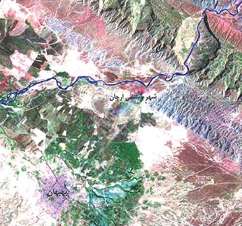 تصویر ماهواره ای منطقۀ باستانی ارگان