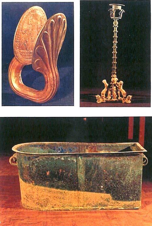 برخی از اشیاء به دست آمده از آرامگاه کیدین هوتران